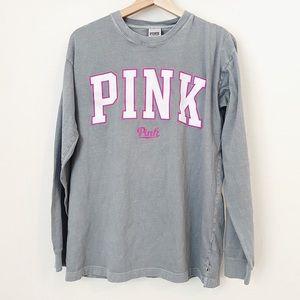 VS PINK Logo Long Sleeve Grey T-Shirt S